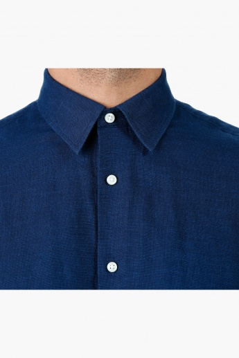 Linen Casual Shirt with Long Sleeves in Slim Fit