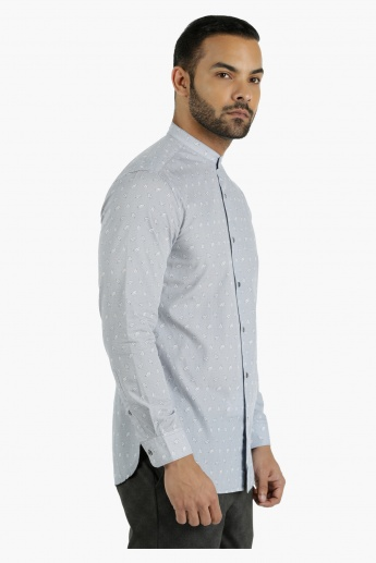 Printed Cotton Shirt with Mandarin Neck in Slim Fit