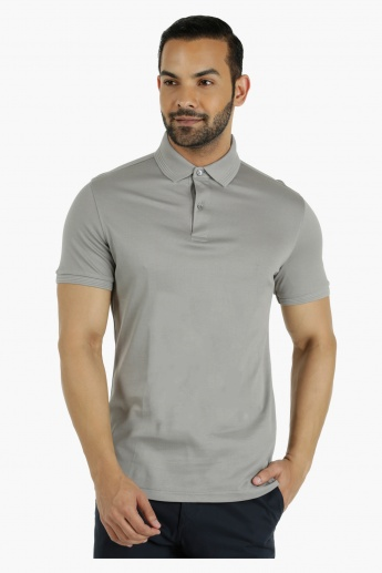 Cotton Polo T-Shirt with Pique Collar in Regular Fit