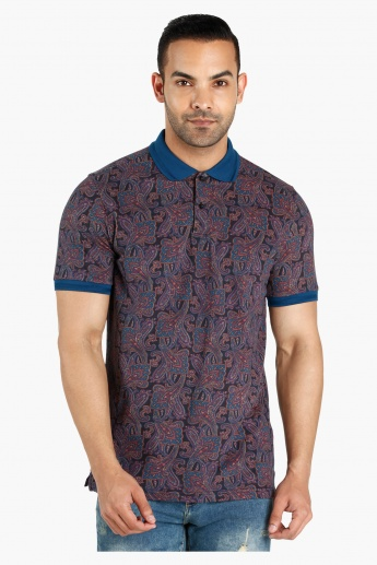 Paisley Print Polo Neck Cotton T-Shirt in Slim Fit