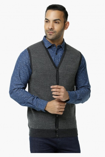 Textured Sweater with Front Placket