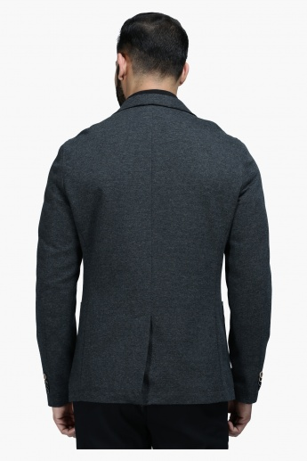 Knit Blazer with Notched Collar and Long Sleeves in Regular Fit