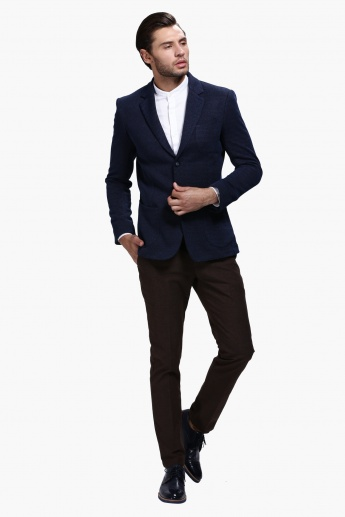 Dobby Blazer with Notched Collar and Long Sleeves