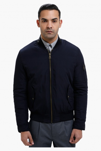 Long Sleeves Bomber Jacket with Zip Detailing