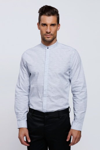 Melange Print Shirt with Mandarin Collar and Long Sleeves