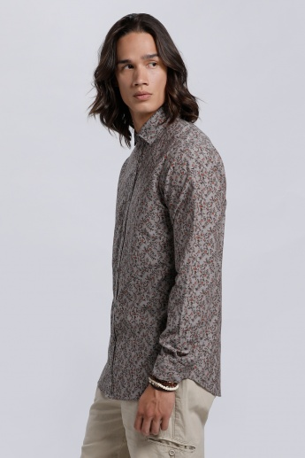 Printed Shirt with Long Sleeves and Complete Button Placket