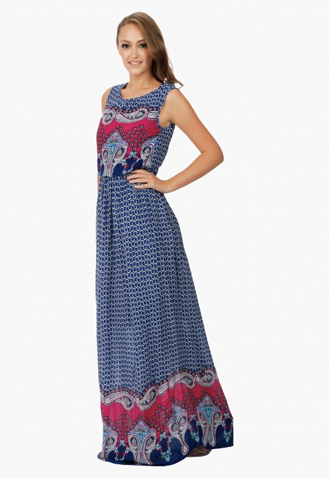 Sleeveless Dress with Boat Neck and Paisley Border print