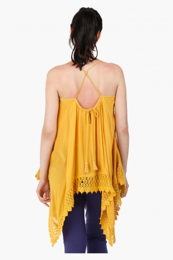 Scarf Shape Blouse with Square Neck and Straps in Regular Fit