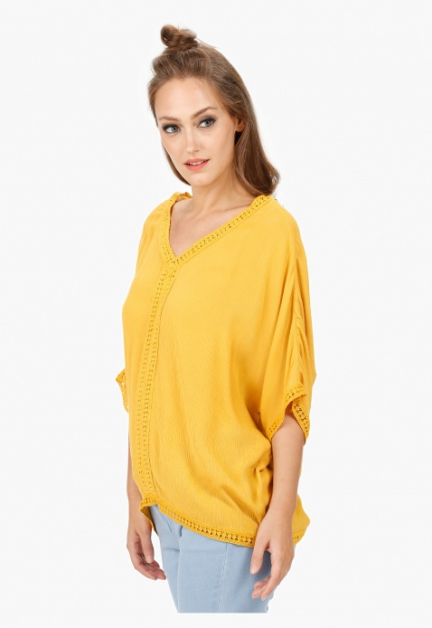 Lace Inset V-Neck Blouse with Flared Sleeves