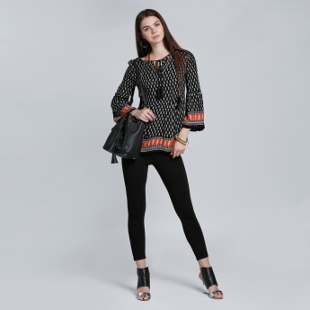 Printed Top with Tie Up and Bell Sleeves