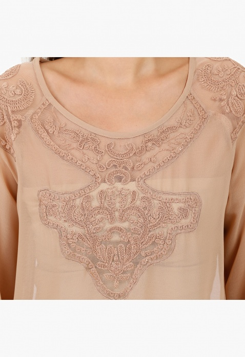 Round Neck Blouson Blouse with Yoke Embroidery and Long Sleeves