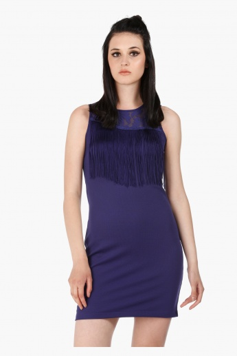 Sleeveless Mini Dress with Round Neck in Regular Fit