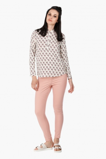 Mandarin Neck Blouse with Long Sleeves in Regular Fit