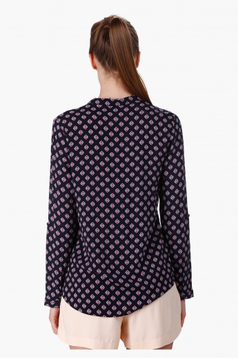 Printed Mandarin Neck Blouse with Long Sleeves in Regular Fit