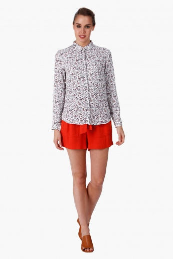 Printed Shirt with Collar Neck and Long Sleeves