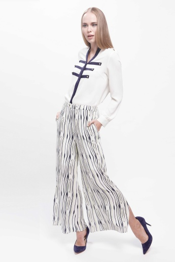 Printed Trousers with Side Slits