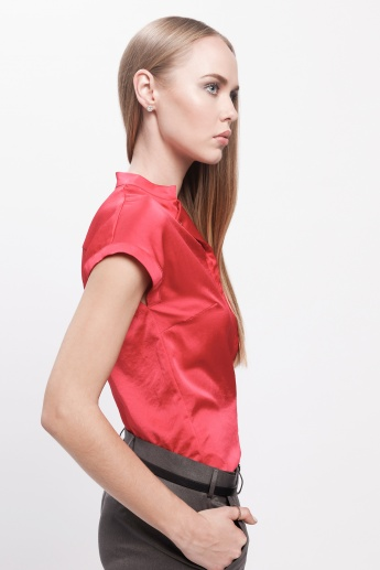 Cap Sleeves Top with Button Detail