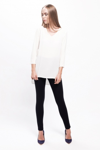 3/4th Sleeves Top with V-Neck and High Low Hem