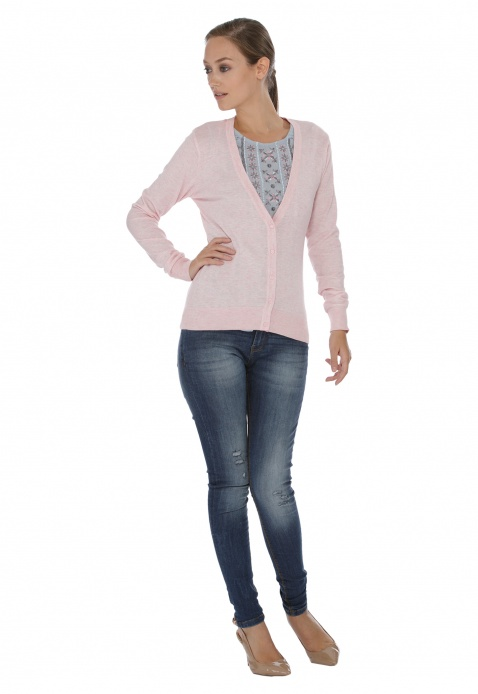 Long-sleeved V-neck Cardigan