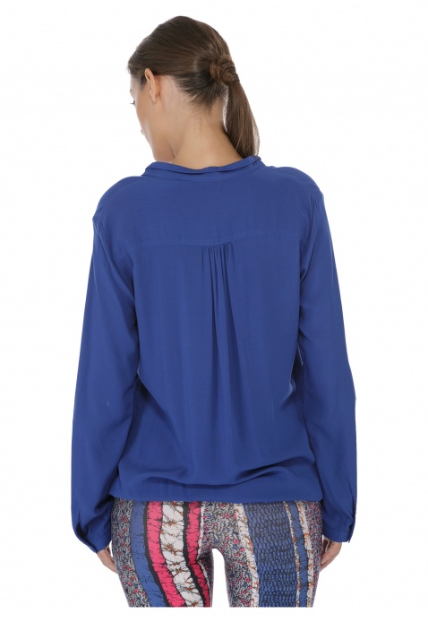 Long-sleeved Mandarin Collar Blouse