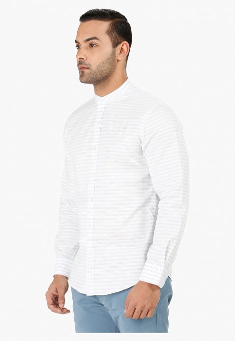 Band Neck Shirt with Long Sleeves