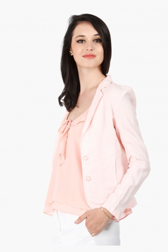 Linen Jacket with Notch Lapel and Long Sleeves in Regular Fit