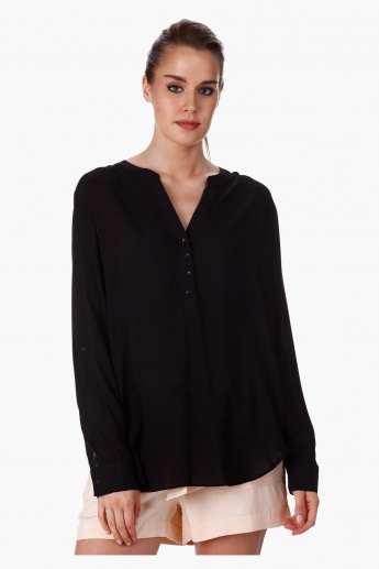 Woven Basic Blouse with Long Sleeves