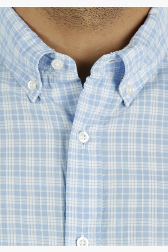 Cotton Chequered Shirt with Half Sleeves in Regular Fit