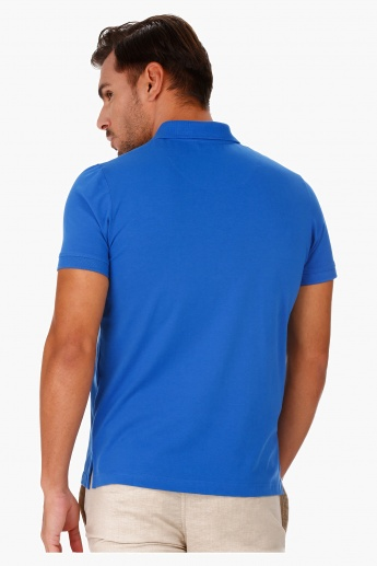 Jersey Polo Neck T-Shirt with Short Sleeves