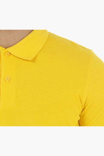 Pique Polo Neck T-Shirt with Short Sleeves