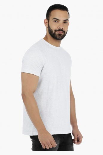 Melange Crew Neck T-Shirt with Short Sleeves