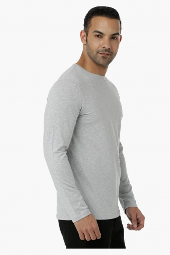 Basic T-Shirt with Crew Neck and Long Sleeves in Regular Fit