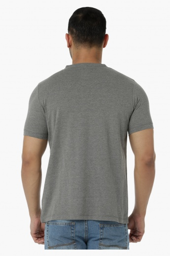 Basic T-Shirt with Henley Neck and Short Sleeves in Regular Fit