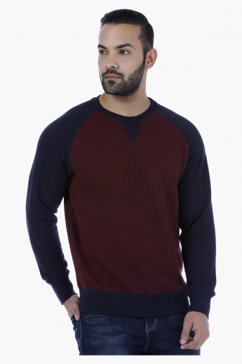Melange Raglan Sleeves Sweat Shirt with Patch V-Neck