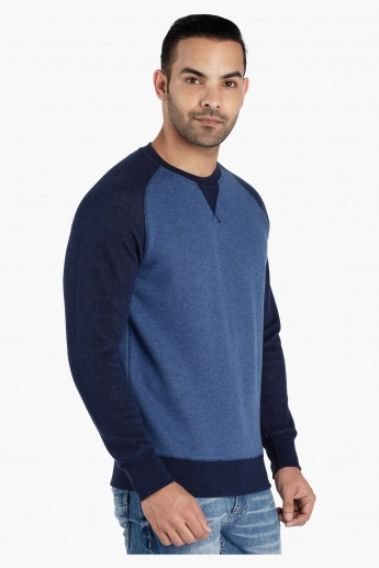Raglan Sleeves Knitted Sweater with Round Neck