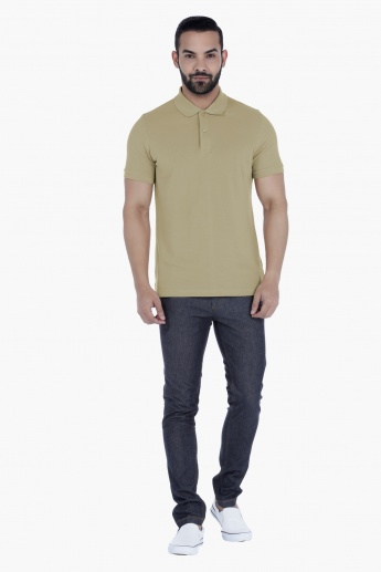 Basic Cotton T-Shirt with Polo Neck and Short Sleeves in Regular Fit