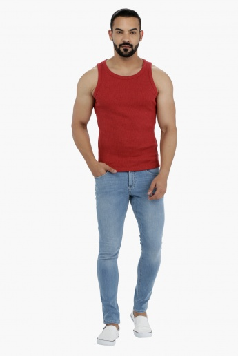 Round Neck Sleeveless Cotton Rib T-Shirt