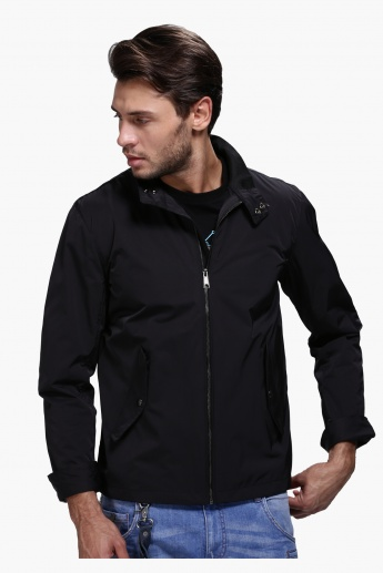 Woven Jacket with Zip Detail and Long Sleeves