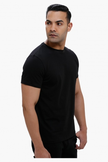 Round Neck T-Shirt with Short Sleeves in Slim Fit