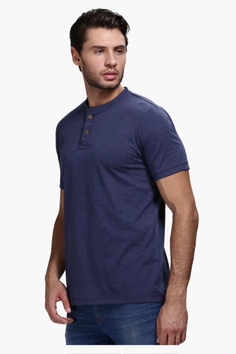 Henley Neck T-Shirt with Short Sleeves in Slim Fit
