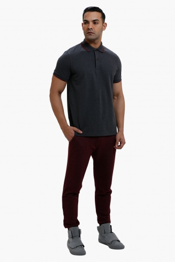 Polo Neck T-Shirt with Short Sleeves in Slim Fit