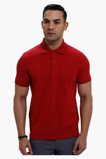 Polo Neck T-Shirt with Short Sleeves in Regular Fit