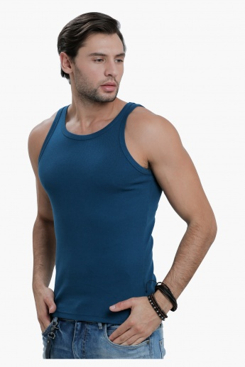 Sleeveless T-Shirt with Round Neck in Slim Fit