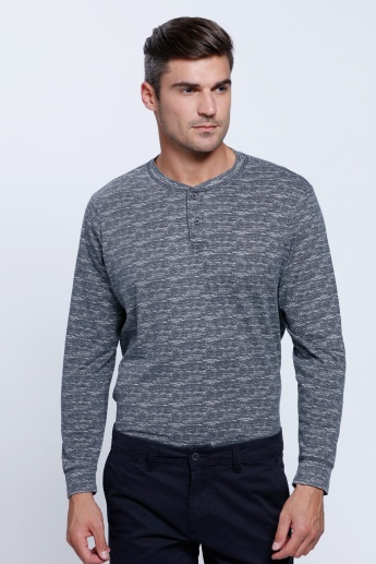 Melange Print T-Shirt with Henley Neck and Long Sleeves
