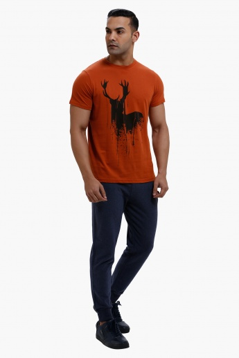 Printed Round Neck T-Shirt with Short Sleeves in Slim Fit