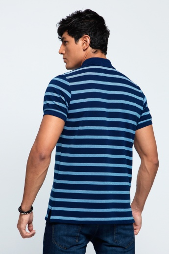 Printed T-Shirt with Polo Neck and Short Sleeves