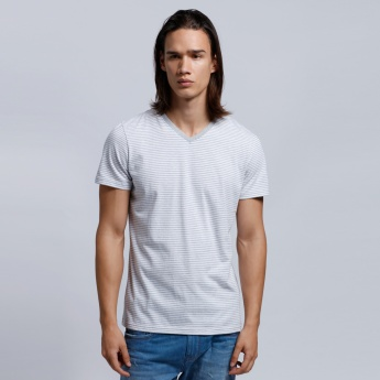 Organic Cotton Printed Short Sleeves T-Shirt with V-Neck
