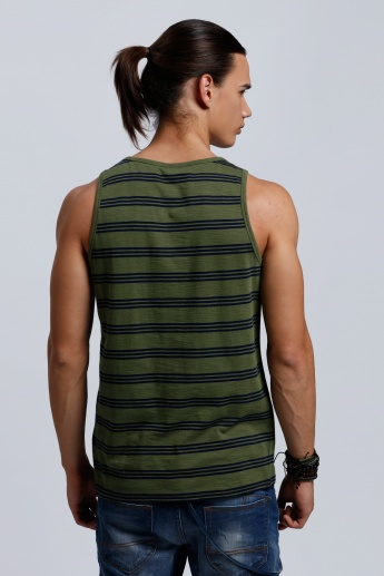 Organic Cotton Printed Round Sleeveless T-Shirt