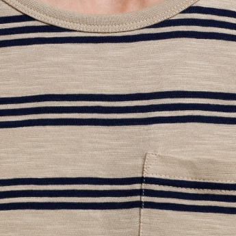 Organic Cotton Striped Round Neck Sleeveless T-Shirt