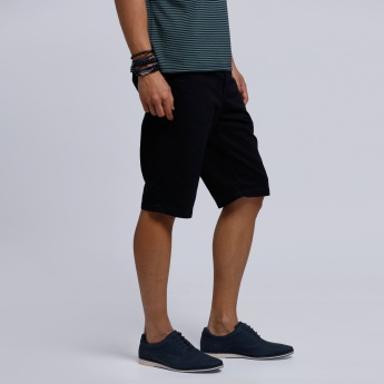 Knee Length Cargo Shorts with Button Closure
